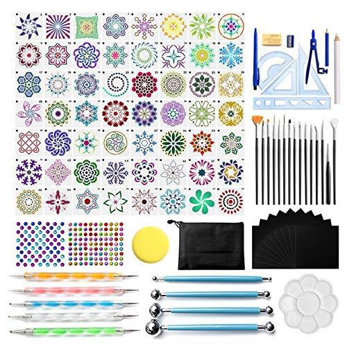 SHOTAY Juego de 105 herramientas para bolígrafos de mandala, para pintar, piedra de roca, acrílico, plantilla, regla, bolsa de transporte