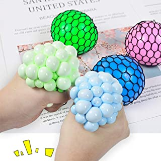 Hand Wrist Squeeze Toy,Squishy Mesh Stress Ball For Children and Adult, 4 in 1 with Different Color,, Perfect or for Stres...
