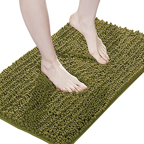 Suchtale Luxury Chenille Bathroom Rug, Non Slip Bath Mat (17x24 Inch Olive Green) Water Absorbent Soft Plush Shaggy Microfiber Rugs, Machine Washable Dry Extra Thick Small Carpet for Shower Floor