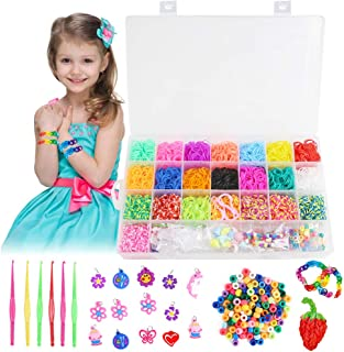 Koogel Colorful Rubber Bands Loom Set 4400 Premium Loom Bands 22 Colors,35 Pendants,6 Small Crochets,300 Beads Pack,500 S Buckles, Organizer for DIY Jewelry Dolls Hats Skirts