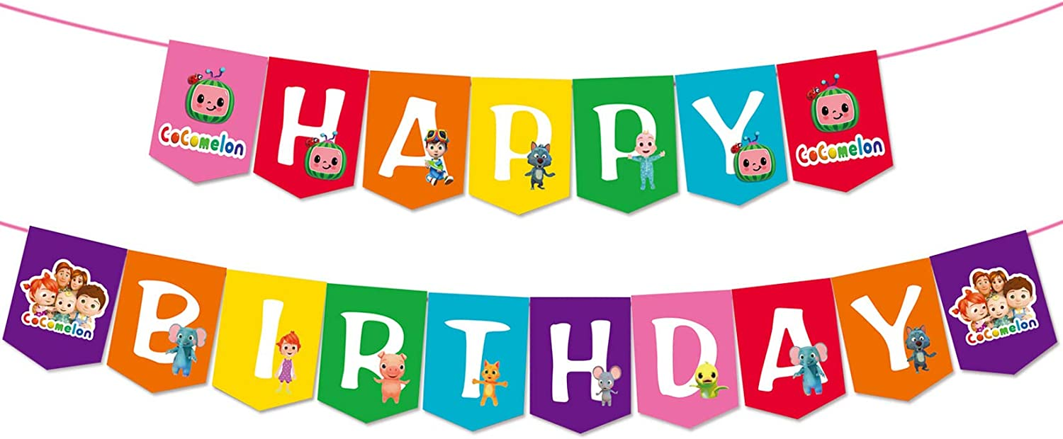 Cocomelon Birthday Pennant Banners
