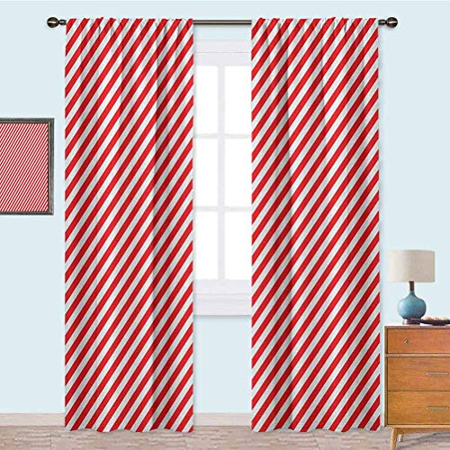 YUAZHOQI Thermal Insulated Window Drapes Diagonal Red Lines Festive Christmas Celebration Themed Geometric Arrangement Blackout Curtains for Kids Room 52' x 95' Red White