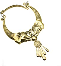 Maying African Elephant Chunky Necklaces Tribal Long Tassel Statement Necklace for Women