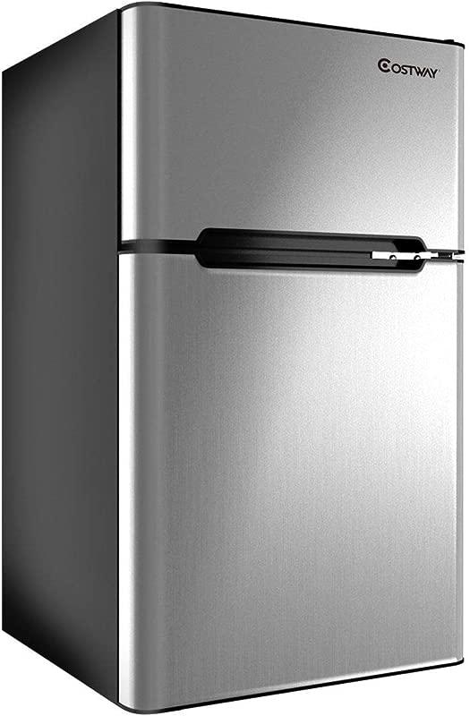 COSTWAY Compact Refrigerator 3 2 Cu Ft Unit Small Freezer Cooler Fridge Grey