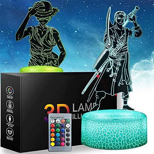 Luz nocturna 3D de una pieza, regalo de ilusión óptica, con 16 cambios de color y control remoto, regalos para niños de 3 4 5 6 años más de una pieza