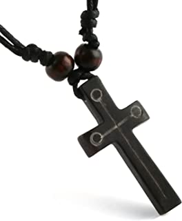Handmade Carved OX Bone Black Color Cross Pendant Necklace Hemp Rope Resizable