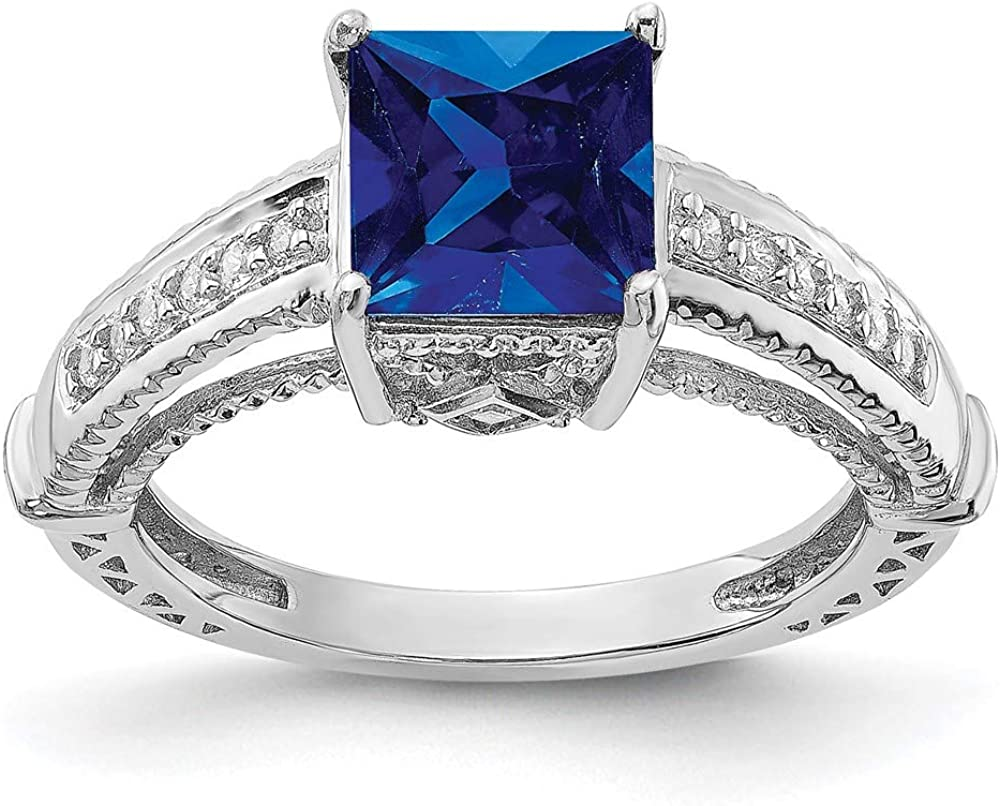 925 Sterling Silver Synthetic Blue Sapphire High order Ba Cz Zirconia Cubic Superior