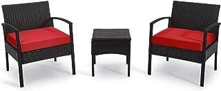 PROHIKER 3 PCS Patio Rattan Conversation Chair Set, 3 PCS...