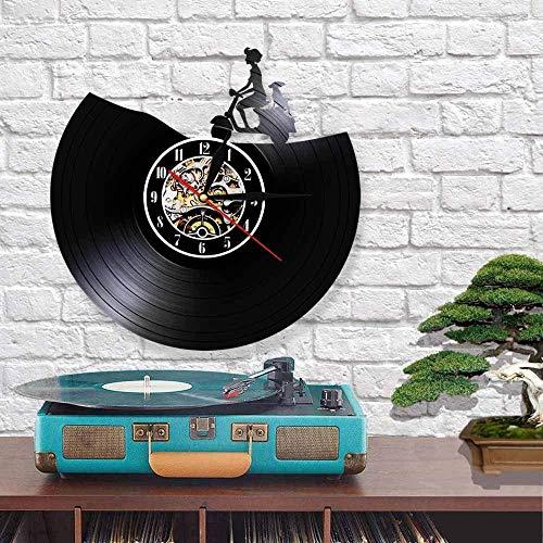 Vintage Scooter Reloj de Pared Motocicleta Disco de Vinilo Hecho a Mano Motocicleta Retroiluminación LED Reloj de Pared Moderno de Moda 30x30cm