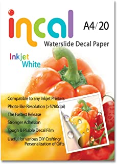 [Incal Paper] Waterslide Decal paper INKJET WHITE A4(210x297mm) 20sheets DIY Photo Printing Craft, Real Photo-grade resolution, Stronger adhesion/fast releasing, Pliable Decal Film