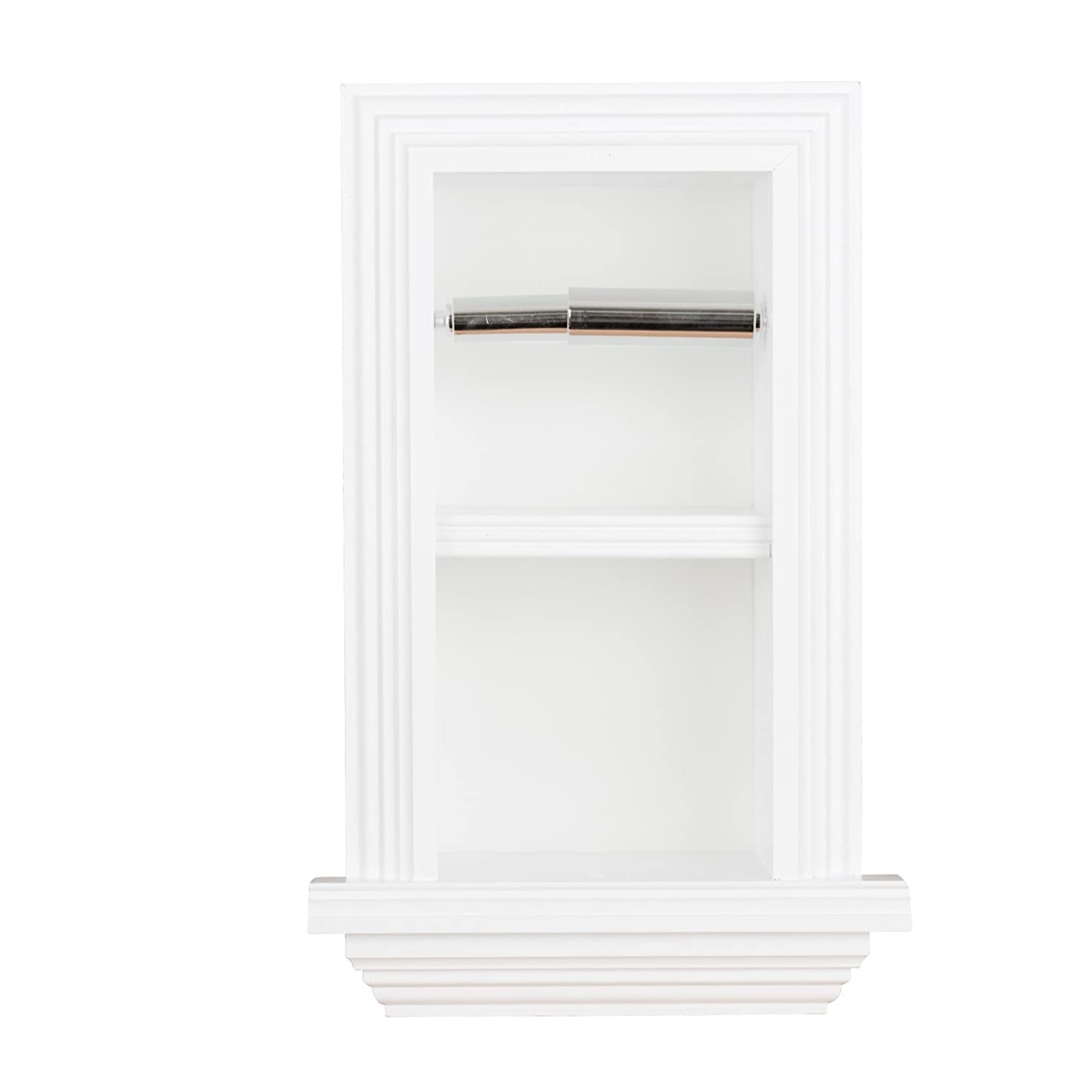 Florida Breeze Cabinets Zephyr Recessed Toilet Paper Holder with Spare Roll, White