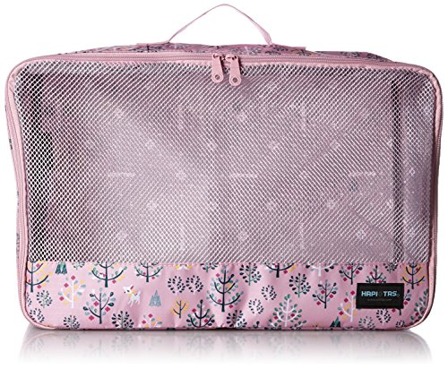 [ハピタス] オーガナイザー Lサイズ パッキングバッグ 中身がわかるメッシュ生地 豊富な柄 28 cm 0.18kg 164フォレストピンク