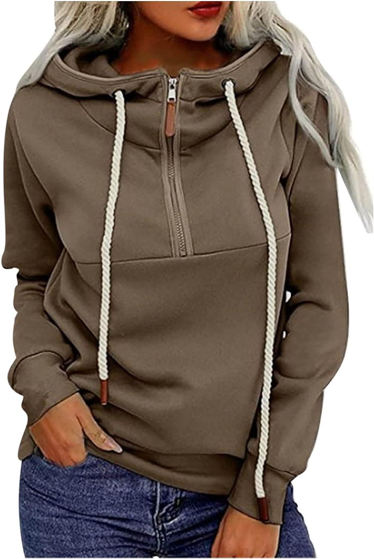 Women's Cute Solid Color Half Zipper Hoodie Sweatshirt Long Sleeve Drawstring Pullover Tops with Kanga Pocket
