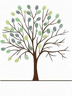 NUOBESTY Árbol de Huellas Dactilares Firma de Boda Libro de Visitas Dibujo Imagen de Pared para Cumpleaños de Boda Decoración de Fiesta de Baby Shower (Color Aleatorio)