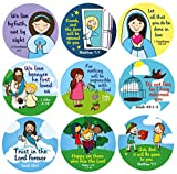Christmas Religious Stickers for Kids Sunday School 200 Christian Stickers in Roll (Bulk) Bible Verse Catholic Sticker for Church and Children