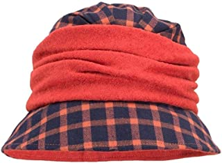 KCBYSS Womens Flappers Vintage Style Tartan Plaid Wool Blend Cloche Bucket Hats (Color : Orange)