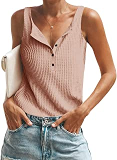 Womens Waffle Knit Tank Tops Summer Button Down Henley Shirts Sleeveless Tees