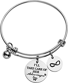 Mother In Law Charm Bracelet Adjustable Stainless Steel Bangle for Mother Stepmother Birthday Wedding