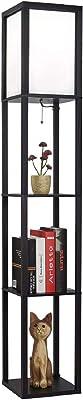 UFLIZOGH Lampadaire en bois, 160CM Lampadaire sur Pied Salon avec 3 étagères et Abat-jour blanc pour Chambre Bureau Studio (Noir, non ampoule)