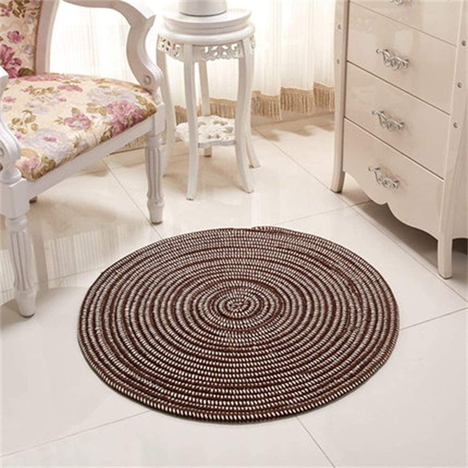 Round Carpet, Rope Series Woven Mat Computer Chairs Cushions Padded Living Room Bedroom Carpet Dust & Water Retaining Door Mat (color    2, Size   Diameter 100CM)