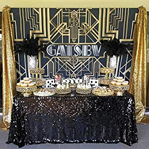 Allenjoy 8x6ft Photography backdrops Great Gatsby Birthday Adults Children Party Black and Gold Golden Banner Photo Studio Booth Background Newborn Baby Shower photocall