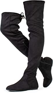 Women Fashion Comfy Vegan Suede Side Zipper Over The Knee Boots