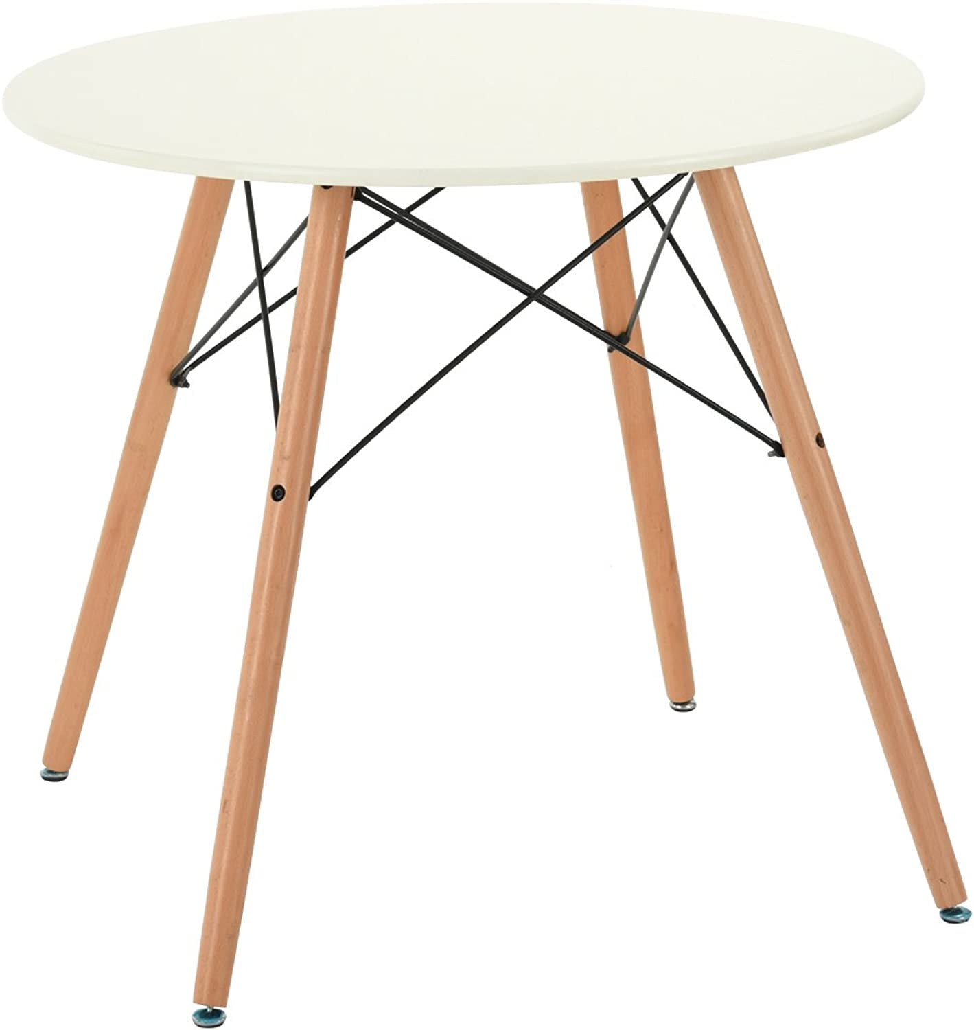 Kitchen Dining Table, FurnitureR Modern White Round Coffee Table Leisure Wooden Tea Table Office Conference Desk 31Inch