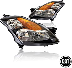 Replacement Headlights Assembly GNSAT06-G2 For 2007-2009 Nissan Altima 4 Doors Sedan Halogen Headlamps With Black Housing Amber Reflector Clear Lens Passeger And Driver Side 26060-JA00B 26010-JA00B