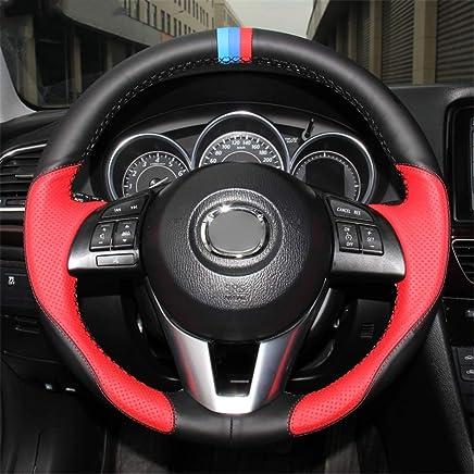 LUOERPI Cubierta del Volante del Coche de Cuero Rojo Negro Cosido a Mano, para Mazda