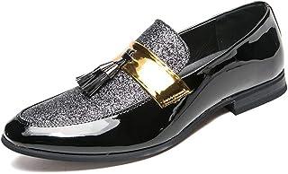 Homme Casual en Cuir Robe Mocassins Gland Pointu Toe Plat Scintillant Partie De Mariage Derby Chaussures Vintage Business ...