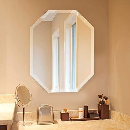 Silver Wall Octagon Mirror Octagonal Shape Hanging Geometric Beveled Frameless Large Modern Glam Decorative Glass 22x28 Home Kitchen
