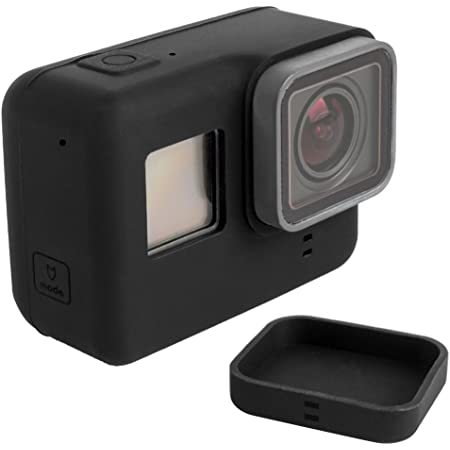 Finegood Soft Silicone Protective Case For Gopro Hero 5 6 Sports Camera With Lens Cap For Hero5 Hero6 Action Camera And Lens Black Elektronik