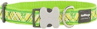 Red Dingo L6-FN-LG-12 Flanno Dog Collar, Small, Lime Green