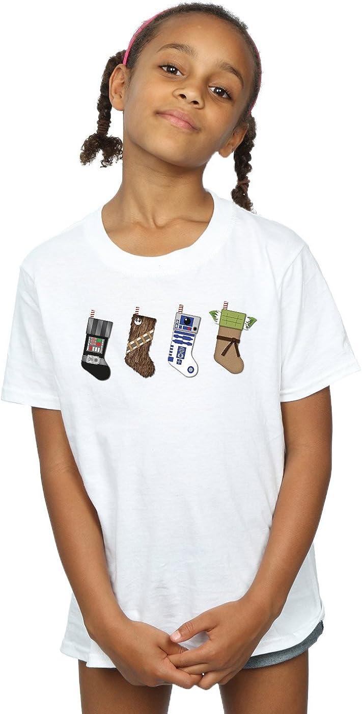 STAR WARS Girls Christmas Stockings T-Shirt 7-8 Years White