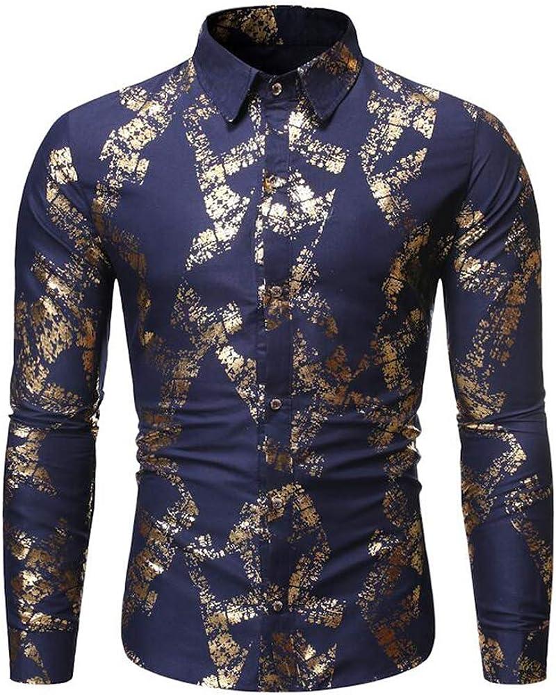 Men's Slim Fit Long Sleeve Floral Cotton Casual Button Down Dress Shirt
