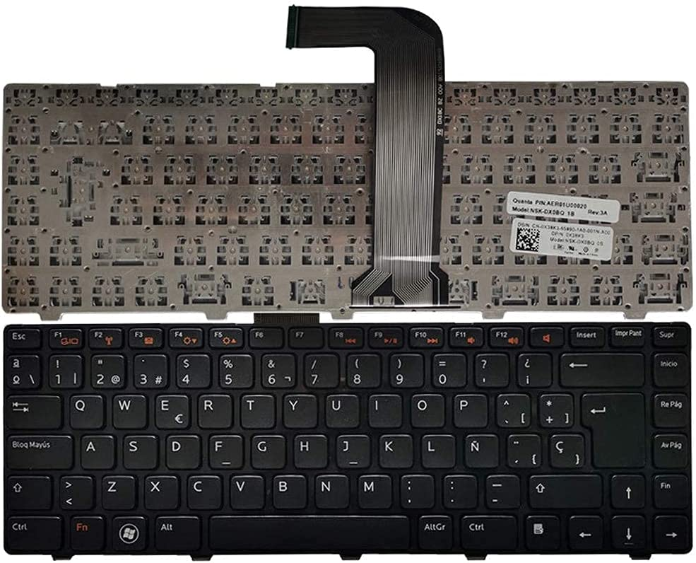Ellenbogenorthese-LQ Laptop Replacement Keyboard Compatible with Dell Compatible with Inspiron 14R N4050 N4110 N4120 M4110 M4040 M521R 15R N5520 N5050 N5040 Spanish Layout