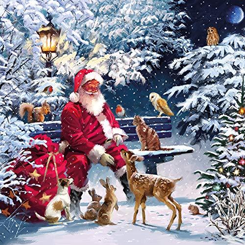 Retro Weihnachts-Servietten Motiv-Servietten SANTA CLAUS Weihnachts-Mann Nikolaus mit Tieren im Winter-Wald - Weihnachts-Deko Tisch-Dekoration Weihnachten Advent Weihnachts-Feier Winter 20 Servietten