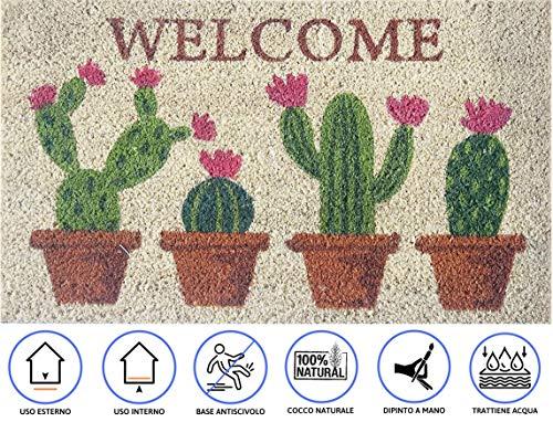 Zerbino da Esterno in Cocco con Base in PVC Dipinto a Mano Raffigurante Cactus in Fiore Scritta Welcome 70X40X2 cm. Facile da Pulire e Ultraresistente
