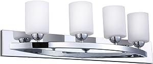 CloudyBay CB17002-CH Vanity Light Fixture,4-Bulb Wall Sconce Bathroom Lighting with Opal Glass Shade,UL Listed,Chrome Finish
