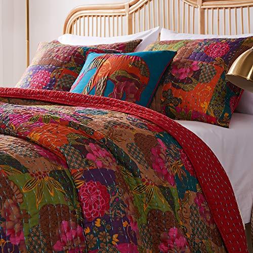 Greenland Home Jewel Quilt Set, 5-Piece Full/Queen, Red