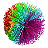 3.2Inch Colorful Stringy Ball,Thick Silicone Bouncing Fluffy Jugging Ball Monkey Stress Ball Office Stress Toys (Rainbow, Medium)