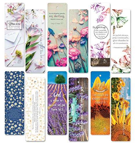 60 pcs Christian Bible Verses Flower Bookmarks. Beauty EBOOK. Encouraging, Inspiration, Unique Design Bookmark.