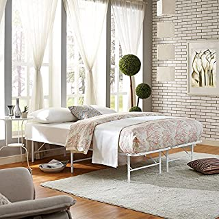 Modway Horizon Full Bed Frame in White - Replaces Box Spring - Folding Portable Metal Mattress Bed Frame with Storage - Low Profile - Heavy Duty