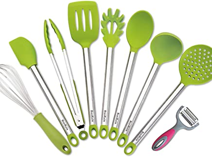 Kitchen Utensils – Cooking Utensil Set Non Stick Non Scratch Nylon and Stainless Steel Cooking Tools Set - Spoon, Strainer, Slotted Spatula, Ladle, Pasta Server, Vegetable Peeler (Green)