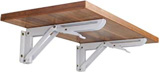 Wall Mounted Folding Shelf Brackets, Rolled Steel Triangle Table Bench Folding Shelf Bracket with Short Release Arm, Max Load: 132lb #81223 (2 Pack)