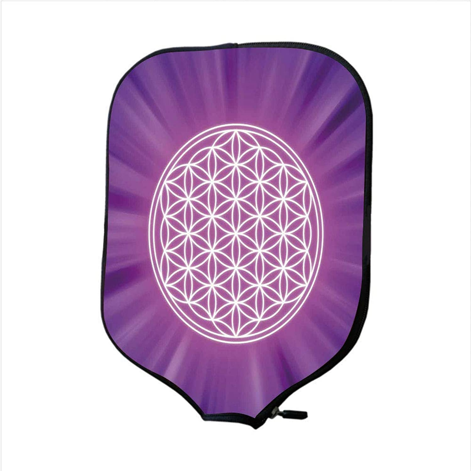 Fine Neoprene Pickleball Paddle Racket Cover Case,Sacred Geometry,Abstract Overlapping Circles on Spiritual Vibrant Background Print,Fuchsia Purple,Fit for Most Rackets