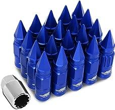 J2 Engineering LN-T7-012-15-BL Blue 7075 Aluminum M12X1.5 16Pcs L: 80mm Spiky Cap Lug Nut w/4Pcs Lock+Key