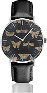 Watch Golden Dragonfly Butterfly Personalized Wrist Watches Quartz Stainless Steel and PU Leather for Unisex