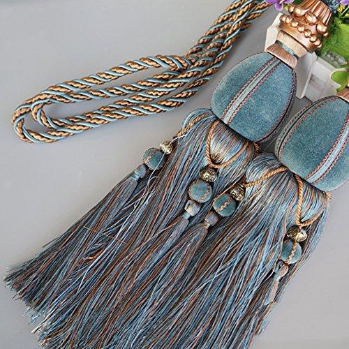 LianLe EIN Paar Vorhang Raffhalter Band Binden Quasten Design mit Kugel (Blau)