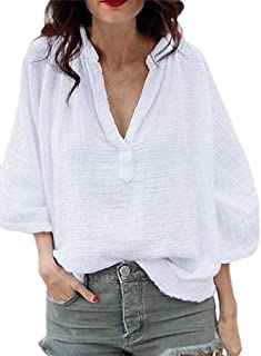 Howely Womens Bell Sleeve Casual V Neck Oversized Cotton Shirt Top Blouse